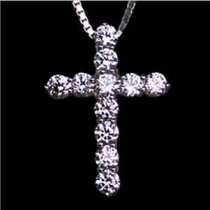 Alta calidad joyería de la boda Sona simuló el collar cruzado del diamante para el colgante de la travesía del diamante de las mujeres