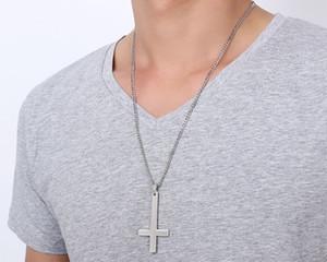 Подробная информация о Крест Святого Петра Сверху вниз Крест из нержавеющей стали Подвеска для мужских подарков