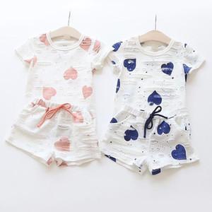 Conjuntos de ropa para niñas Verano camiseta con estampado de corazón + Pantalones cortos Ropa de niños para niños Trajes 1 lote = 1 juego = 2 piezas Algodón