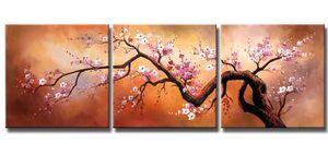 Emoldurado 3 PCS Rosa Flores De Ameixa Florescendo No Céu Dourado, Pintado À Mão Enorme Moderna casa moda Casa Deco Pintura A Óleo Da Lona de Arte Multi Tamanho L005