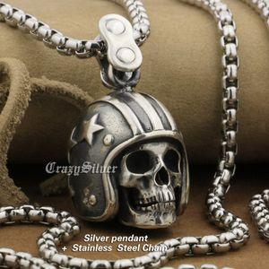 LINSION 925 Casque d'argent Sterling Motorcycle Skull Mens Biker Punk Rock Pendentif TA19 Collier en acier inoxydable de 24 pouces