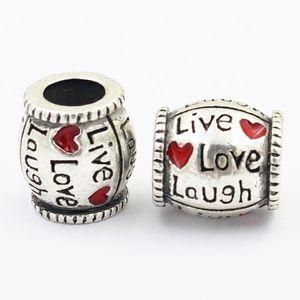 Живая любовь смех 925 серебро красное сердце конфеты форма Шарма шарик Fit Европа Пандора браслет ожерелье аутентичные аксессуары