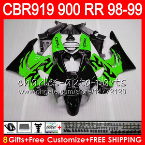 Corpo para HONDA CBR 919RR CBR900RR CBR919RR 1998 1999 68NO22 verde preto CBR 900RR CBR919 RR CBR900 RR CBR 919 RR 98 99 Kit de carenagem 8Gifts