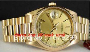 Relógios de luxo de qualidade superior 118238 18238 Dial Amarelo aço inoxidável 36mm Mens automático relógios relógios de relógios