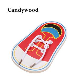 Wholesale- neue Ankunfts-Kinder Montessori Lernspielzeug Kinder Holzspielzeug Kleinkind Schnürsystem Schuhe Early Education Montessori-Lehrmittel