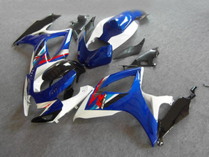 Kit carénage injection pour 2006 2007 SUZUKI GSXR600 750 GSXR600 GSXR750 K6 06 07 GSXR 600 Carrosserie de carénage blanc bleu MN02