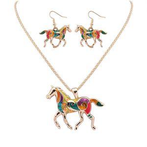 Mode Regenbogen Pferd Anhänger Halsketten Baumeln Ohrringe Sets GoldSilber Emaille Tier Charme Popcorn Kette Für Frauen Mädchen Schmuck Geschenk
