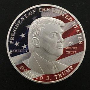 5 pezzi Donald Trump Il Presidente dello stato unito di Ameirca distintivo di monete USA placcato color argento souvenir
