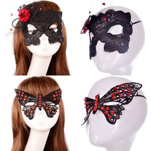 Nuove maschere sexy del merletto del diamante Maschere delle ragazze delle donne Masquerade Maschera veneziana del mezzo fronte Natale Halloween Cosplay Fiori Maschere per gli occhi WX-M11