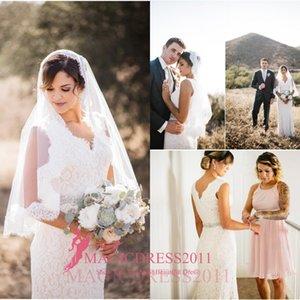 Gorgeous 2021 Sheath Wedding Dresses Deep V-Neck Lace for Beach Garden Vintage Boho Backless Wedding Party Bridal Gowns Court Train