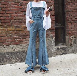 Atacado-Mulheres de Cintura Alta Flare Jeans Calças das Mulheres Bib Macacão Calças Suspensórios Macacão Jeans Perna Larga Lado Aberto