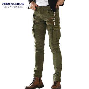 Wholesale-Port&Lotus Jeans Men Casual Fashion Men Jeans Solid Color Biker Jeans Army Style Slim 004 Skinny Men Brand Clothing