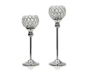 Castiçais de Cristal de vidro de alta qualidade 12 * 30 cm de Altura de Casamento Central Peça de Metal de Prata de Ouro Castiçal Suporte de Vela frete grátis