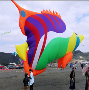 Outdoor Sports NEW High Quality 8m Power Soft Inflatable Multicolor Fish kite