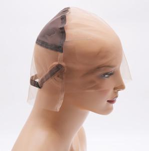 Gorra de peluca de encaje completa de bricolaje para hacer pelucas de cabello suizo y francés red de cabello con correas y orejas a orejas