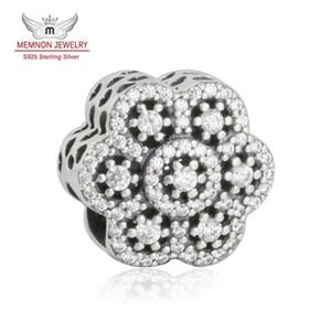 Memnon ювелирные изделия 2016 зима Рождество 925 стерлингового серебра игристые CZ проложить цветок ажурные Шарм бусины для изготовления ювелирных изделий DIY аксессуары