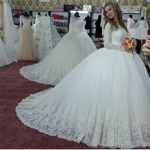 Mangas longas Vintage árabes vestidos de casamento Pescoço altos com apliques de contas Longo nupcial vestido de baile vestidos de casamento Vestidos de novia