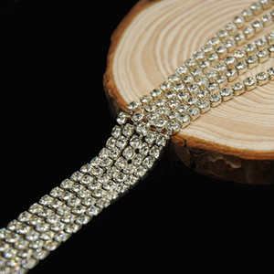 10 미터 모조 다이아몬드 컵 사슬 클리어 크리스탈 닫기 실버 도금 라인 스톤 체인 트림 컵 체인 웨딩 케이크 장식 SS6.5-SS12