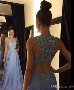 2021 Cheap Lavanda un pizzo linea Prom Dresses Applique perline girocollo lunghi abiti da sposa in chiffon convenzionale di sera del partito abiti