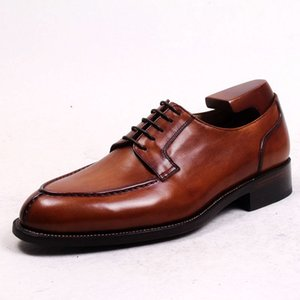 Calf Dark Shoes Oxfords Shoes Men Dress Custom Handmade Round HD-N181 Leather Color Genuine Toe Brown Ntmrf