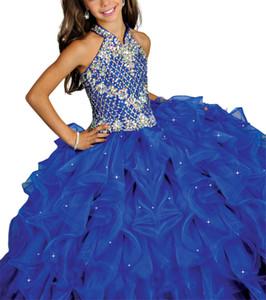 Royal Blue Junior Halter Kleider Mädchen Perlen Festzug Kleider Kinder Tanzparty Besondere Anlässe Fprmal Tragen
