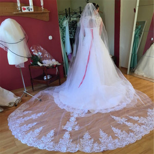 One Layer 3.5 Meters Long Lace Wedding Veil with Comb 3.5 M White Ivory Bridal Veil Veu De Noiva