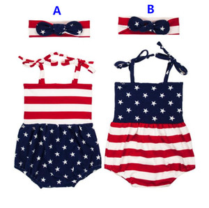 2017 Baby Girls INS Flag of the United States Rompers Girl Cotton print romper +Big Bows headbands 2pcs sets baby clothes
