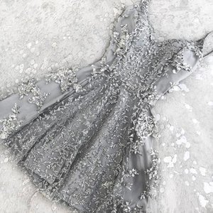 2018 Sıcak A-Line Kristal Kısa Kokteyl Parti Elbiseler Yeni Dantel Aplikler Mini Spagetti Sapanlar Ucuz Homecoming Elbise Balo Giymek