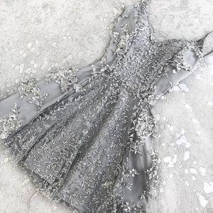 2018 Hot A-Line Crystal Short Cocktail Party nuevos apliques de encaje Mini espagueti correas Cheap Homecoming Dress Prom Wear