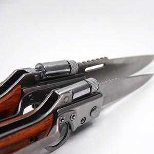 Serin AK47 Katlanır Silah Bıçak 440 Çelik Bıçak Ahşap Kolu Cep EDC Araçları Taktik Kamp Açık Havada Survival Bıçaklar LED Işık Ile