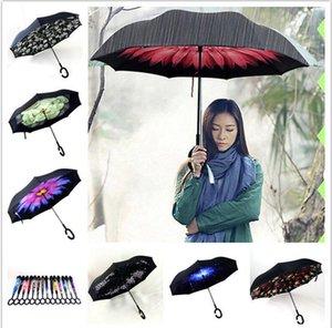 Ters Şemsiye C-Kolu Kendini Dışarıda Ayakta Özel Tasarım Çift Katmanlı Baş Aşağı Çift katmanlı Rüzgar Geçirmez Şemsiye 30deign KKA1162