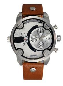 Caso Marca 7272 Fashion Men's Strap Dials Big Date Watch Masculino de Couro Multiple Mutiple Calendário de Pulso