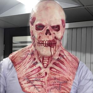 Atacado-New Halloween Máscara de Sangue Do Crânio de Látex Perucas Assombradas casa assombrada Superior body horror decoração Máscaras de terror diabo músculo Rib