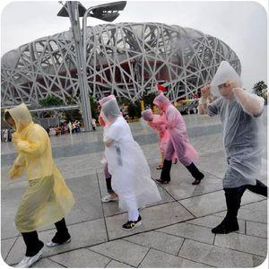 High-quality Disposable PE One-time Raincoats Poncho Rainwear Travel Rain Coat Cycling Hiking Rain Wear gifts mixed colors DHL
