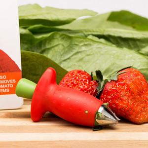 الأحمر الفراولة huller سيقان الطماطم سكين الفاكهة المزيلات المحمولة مطبخ الفراولة حفر أداة dhl مجانا الشحن