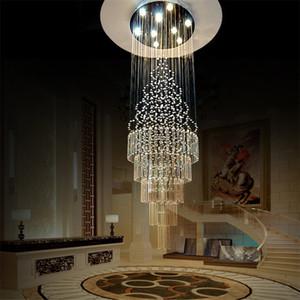 K9 Crystal Stair Chandeliers Modern Creative Spiral Suspension Lightings GU10 LED Hotel Villa moda grandes arañas