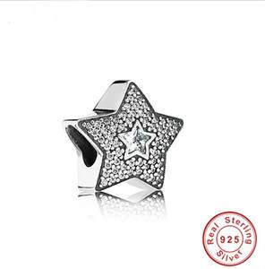 2020 Promoção Real Autêntica 925 Esterlina Prata Charme Beads Fit Original Pandora Pulseira DIY Star Branco CZ Pulseira Jóias