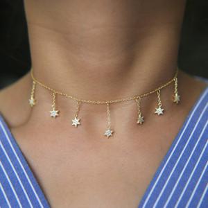 2017 cadena de la borla de la manera estrella del encanto del regalo de navidad fina 925 plata esterlina delicada cadena gargantilla collar llamativo