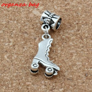 MIC 50pcs   lot Dangle Ancient silver 3D Roller Skates Charms Big Hole Beads Fit European Charm Bracelet Jewelry 11.5X32.5MM A-118a