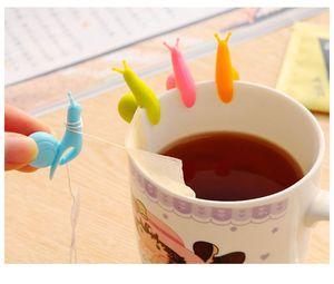 مزج اللون الحلزون تسمية اينجلاس لتعليق كيس شاي ملون القواقع كليب هدايا سيليكون حزب كأس الزجاج مقاطع الهدايا الترويجية