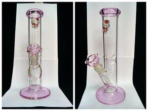 2017 Adorável caixa de vaquinha gato de vidro bongs cor rosa de vidro dab rigs tubulação de água de fumar em linha reta Reciclar downstem tubo por bobina rig 14mm conjunta