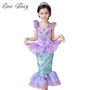 سبق الجنية الأطفال طفلة ملابس ليتل ميرميد يتوهم أطفال بنات حورية البحر الأميرة ارييل تأثيري هالوين زي