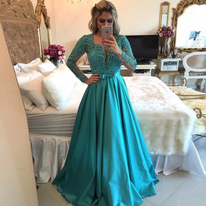 Charming Sexy Long Sleeve Prom Dress 2017 Blue Pink A Line Yellow Beaded Lace Long Evening Party Dress vestido de festa