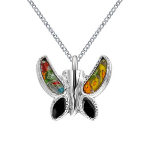 Memorial Urn Necklace Keepsake Cremation Jewelry Colgante de mariposa multicolor de acero inoxidable con embudo y bolsa de regalo