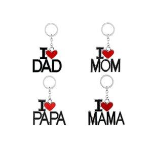 Ich liebe VATI MAMMA PAPA Keychain Brief rotes Herz Liebe Schlüsselanhänger Ringe Modeschmuck für Mutter Vater Geschenk Drop Shipping