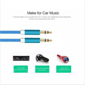 1M Plated Aux Male Aluminum Plug 3.5mm To Cable Audio Alloy Car Cable Gold For Male MP3   MP4 Headphone Speaker Jusaf