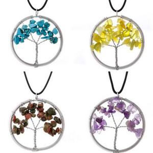 Natural Árvore da Vida pingente de colar de pedra Beads sabedoria criativa Handmade Árvore Colares Mulheres Jóias Presente de Natal Acessórios de