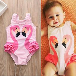 Nouveau été bébés enfants costumes de natation Cartoon Flamingo One-piece maillot de bain filles maillots de bain mignonne enfants maillots de bain bébé maillot de bain 3053