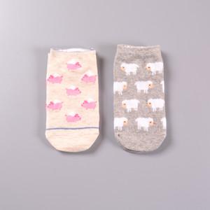 Wholesale- Lovely Pink Pig & Cute Sheep Autumn Women Short Socks Cartoon Short Boat Socks Korea Style Ankle Tube Cotton Socks 2 Pairs