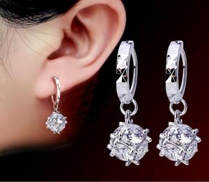 Pendientes de gota de plata de la manera para las mujeres largo cuelgan Earing Crystal CZ Zircon declaración joyería de la bola de la boda G532